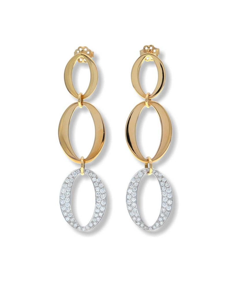 CAPECE GIOIELLIERI Yellow and white gold pendant earrings