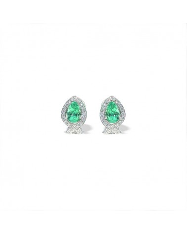 CAPECE GIOIELLIERI Earrings with drop emerald and diamonds