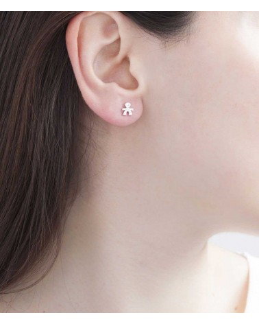 LE BEBE' CRUMBS SINGLE EARRING MALE IN WHITE GOLD AND PAVÉ