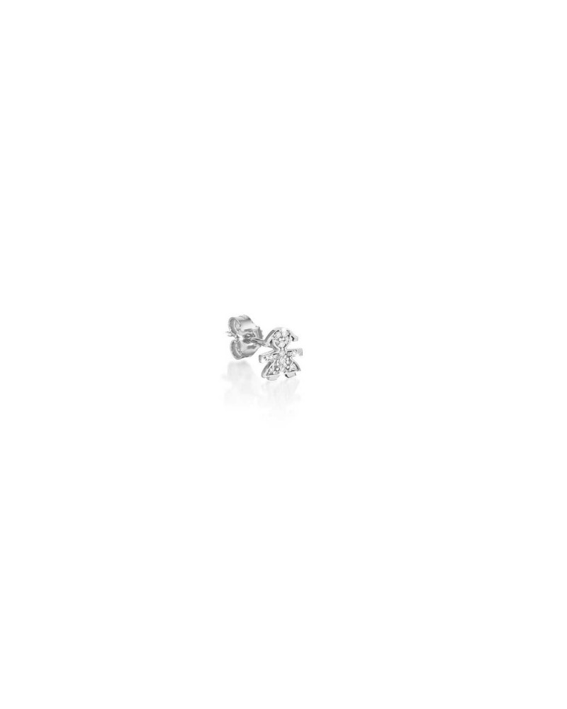 CRUMBS SINGLE EARRING FEMALE IN WHITE GOLD AND PAVÉ