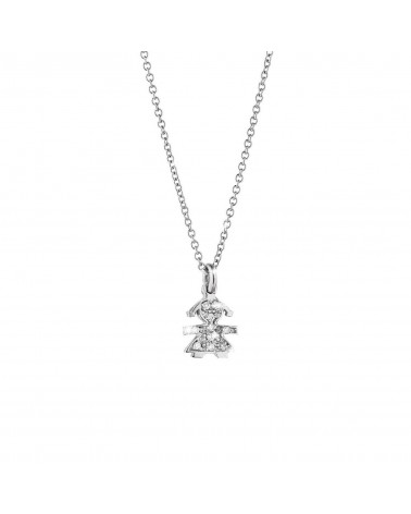 CRUMBS FEMALE PENDANT IN WHITE GOLD AND PAVÉ