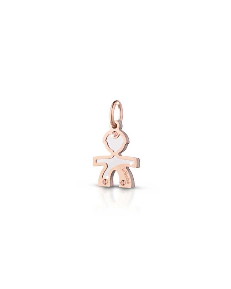 PINK GOLD AND SILVER SILHOUETTE MALE CHARM LOCK YOUR LOVE