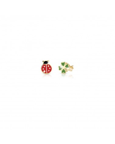 LUCKY EARRINGS FOUR-LEAF CLOVER AND LADYBIRD