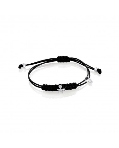 Crumbs bracelet with lanyard and male in white gold and pavé