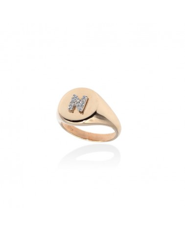 CAPECE GIOIELLIERI Chevalier ring with letter N 9kt.
