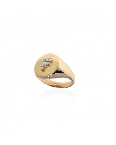 CAPECE GIOIELLIERI Chevalier ring with letter F 9kt.