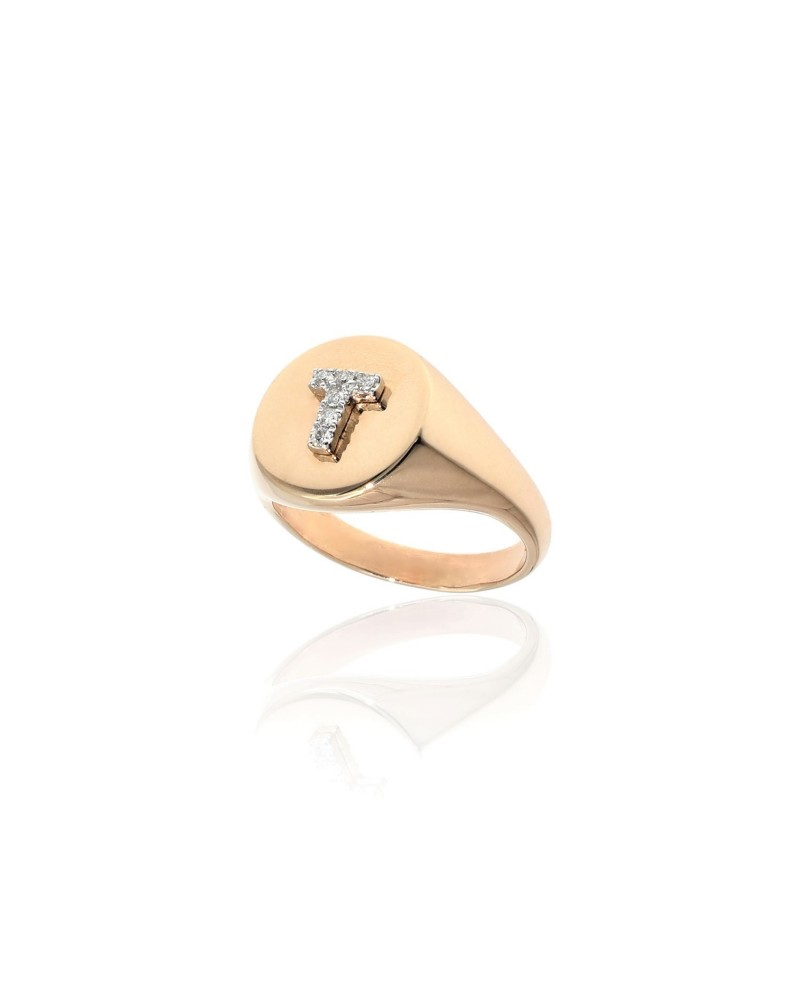 CAPECE GIOIELLIERI Chevalier ring with letter T 9kt.