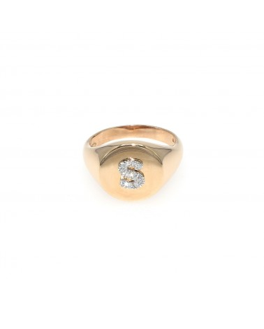 CAPECE GIOIELLIERI Chevalier ring with letter S 9kt.