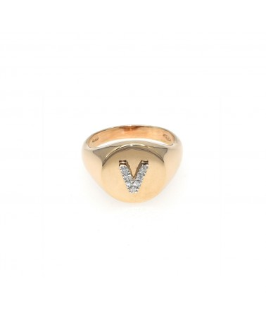 CAPECE GIOIELLIERI Chevalier ring with letter V 9kt.