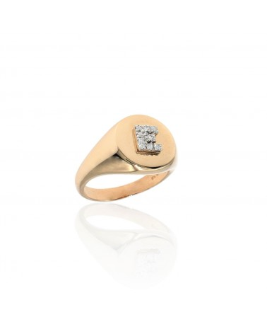 CAPECE GIOIELLIERI Chevalier ring with letter E 9kt.