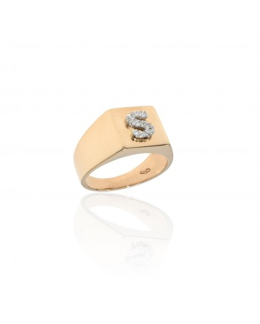 CAPECE GIOIELLIERI Square chevalier ring with letter S