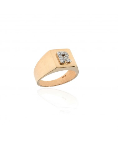 CAPECE GIOIELLIERI Square chevalier ring with letter R