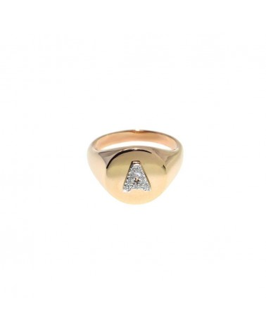 CAPECE GIOIELLIERI Chevalier ring with letter A 9kt.