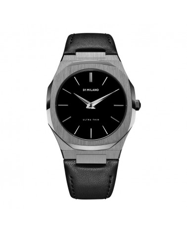 D1MILANO ULTRA THIN LEATHER 40 MM GUN METAL