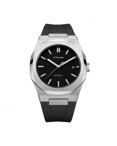 D1MILANO AUTOMATIC RUBBER 41.5 MM SILVER