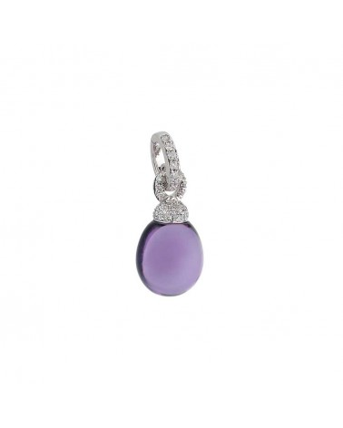 CHANTECLER Pendant in white gold, diamonds and amethyst