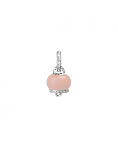 CHANTECLER Small pendant in white gold, diamonds and pink coral