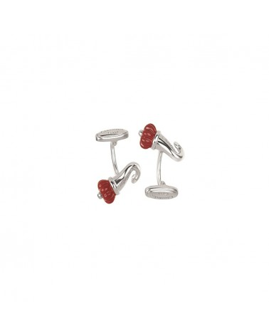CHANTECLER Horn cufflinks in silver and red enamel