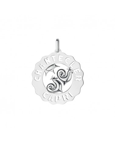 CHANTECLER Large pendant Roosters and Sun in silver
