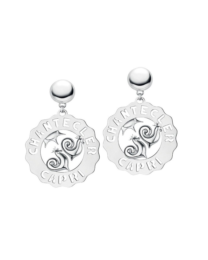 CHANTECLER Large earrings Roosters and sun in silver
