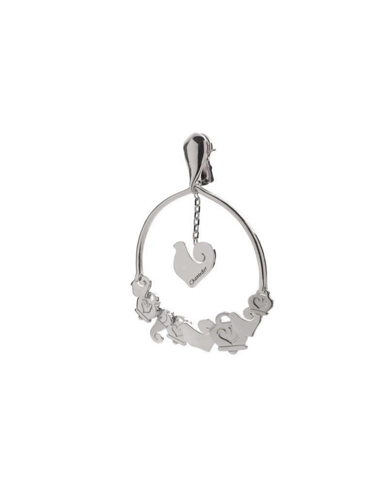 CHANTECLER Creole earrings with 9 symbols in silver