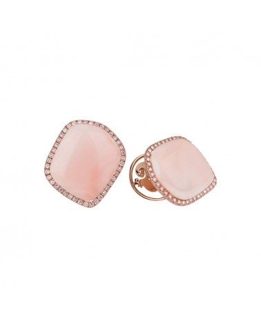 CHANTECLER Earrings in pink coral and diamonds