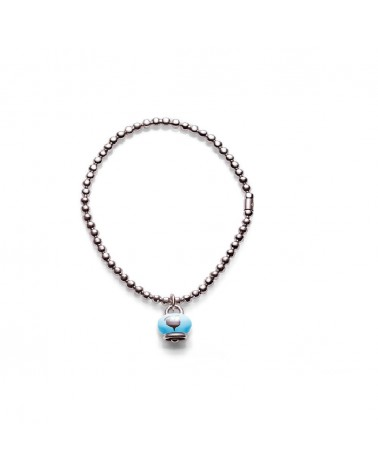 CHANTECLER Elastic silver bracelet with bell pendant