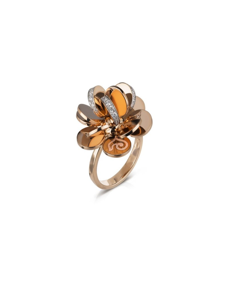 CHANTECLER Large flower ring in rose gold and diamonds