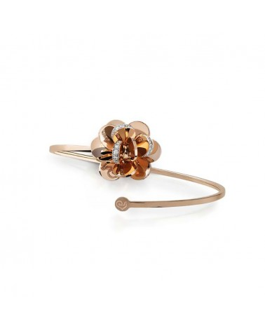 CHANTECLER Medium flower bracelet in rose gold and diamonds