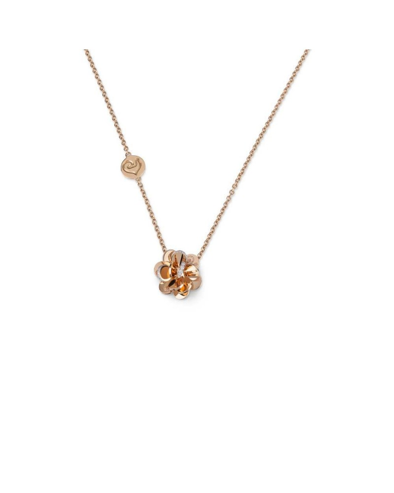 CHANTECLER Small flower pendant in rose gold and diamonds