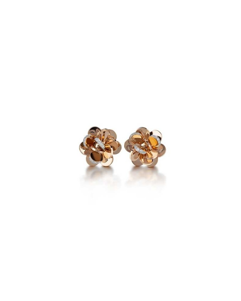 CHANTECLER Small flower earrings in rose gold and diamonds