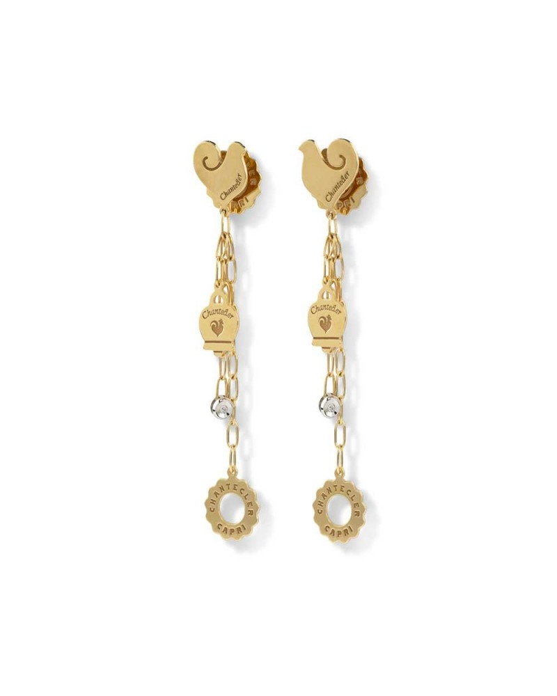 CHANTECLER Pendant earrings with rooster symbols