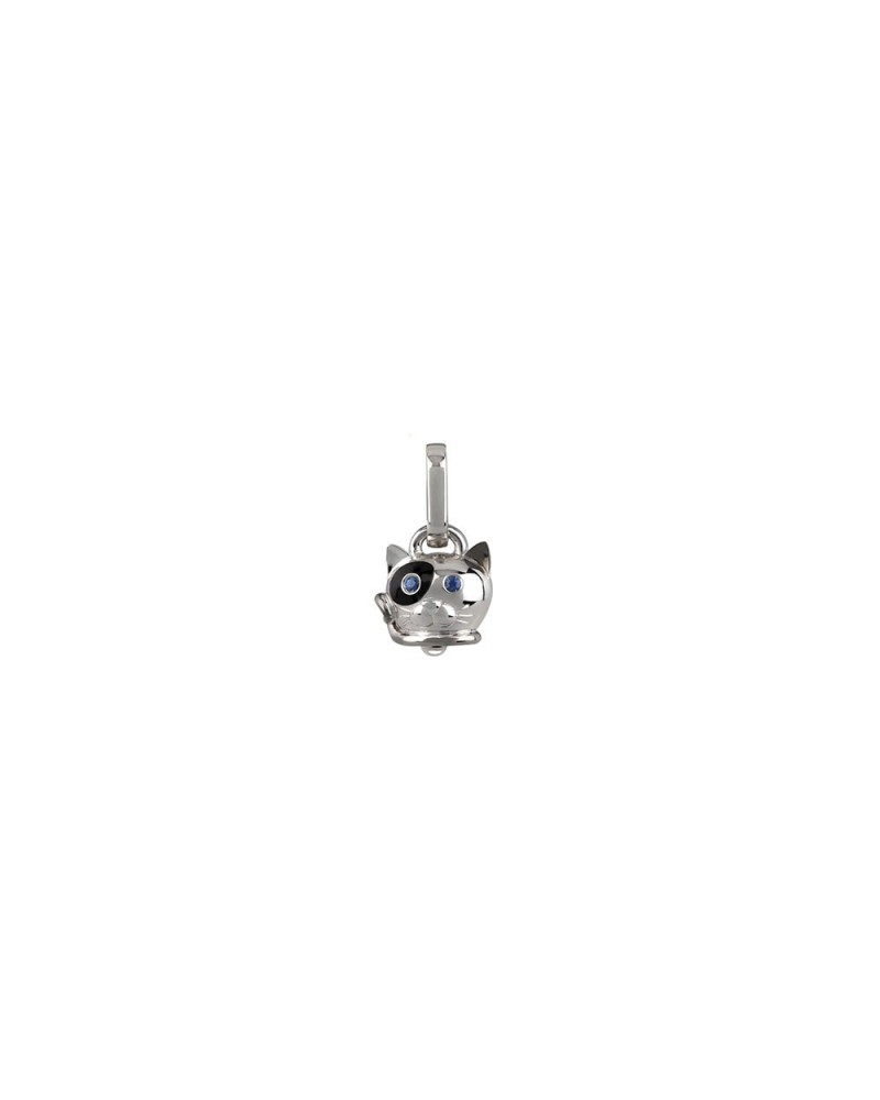 Micro cat charm in silver, black enamel and blue sapphires