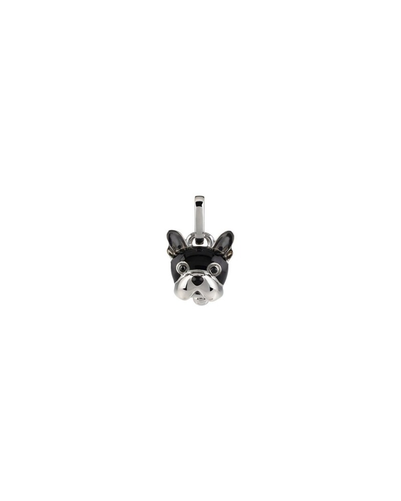 Small dog charm in silver, black enamel and black spinel