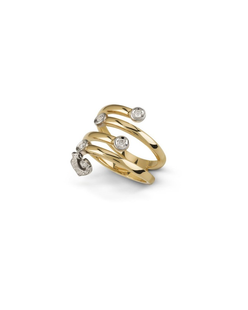 Four-faith ring, with a pendant rooster in yellow gold and diamonds