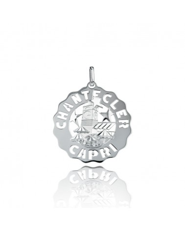 CHANTECLER Large square pendant in silver