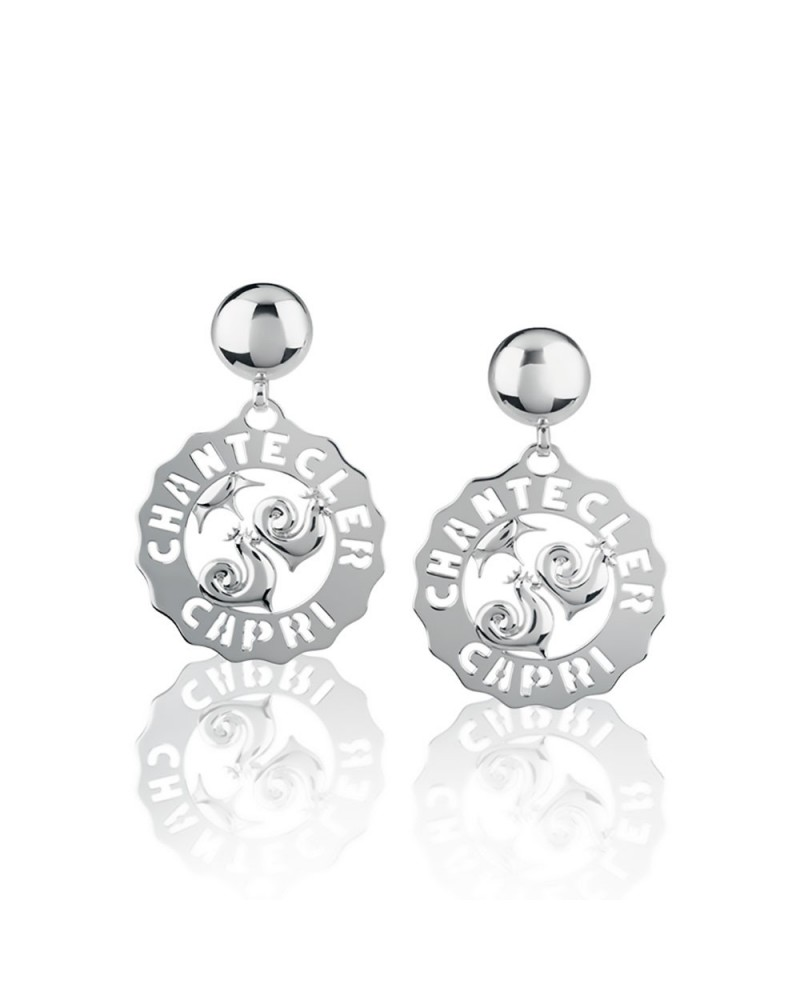 CHANTECLER Small rooster earrings in silver