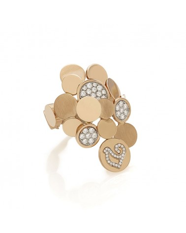 CHANTECLER Paillettes ring in 18Kt rose gold and diamonds