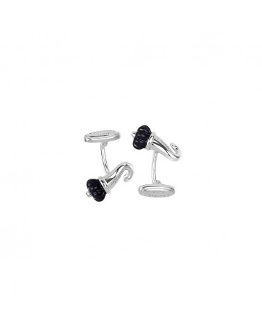 CHANTECLER Horn cufflinks in silver and black enamel