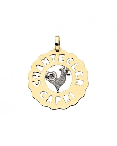 CHANTECLER Medium Rooster pendant in yellow and white gold