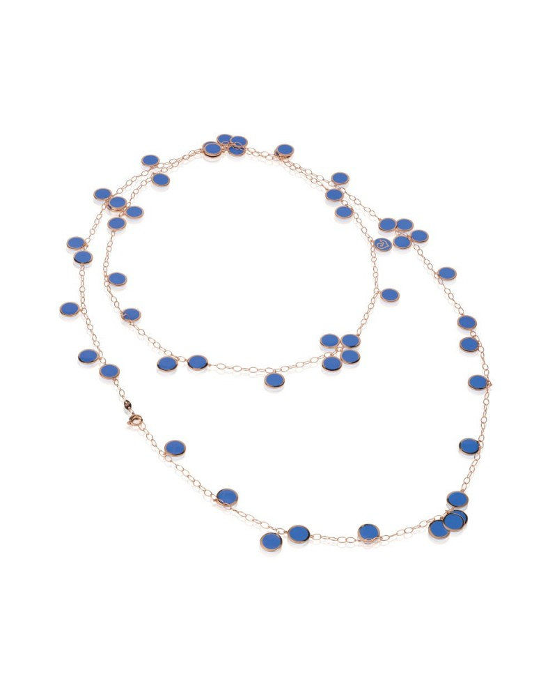 CHANTECLER Sequined necklace in pink gold and Capri blue enamel