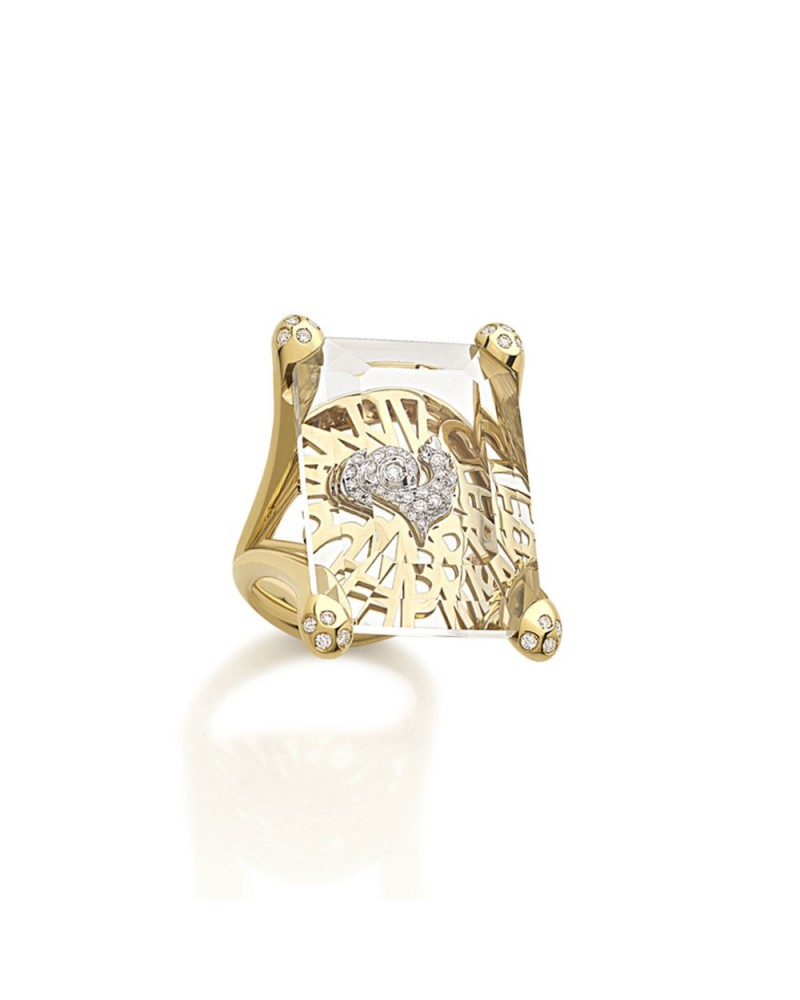 CHANTECLER Yellow Gold Ring with embedded Rooster