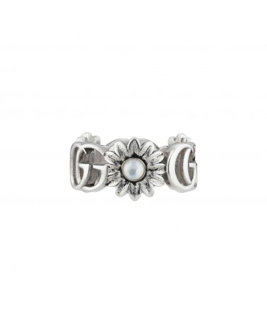 GUCCI Ring with flowers and Double G