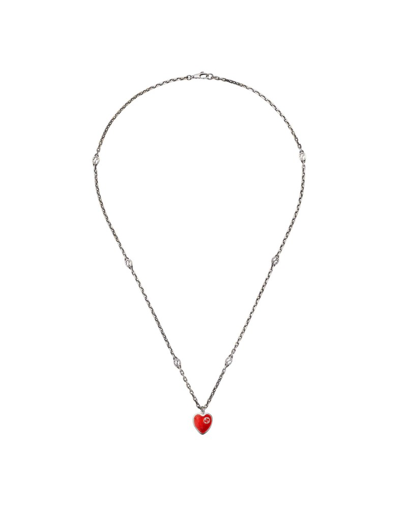 GUCCI Necklace with Interlocking G enamel heart