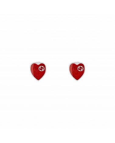 GUCCI Earrings with Interlocking G enamel heart