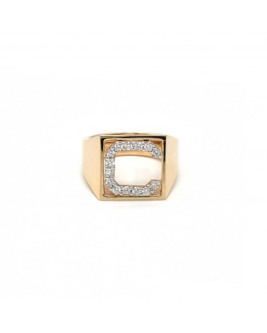 CAPECE GIOIELLIERI Ring DIT-MOI letter C in gold and brilliants
