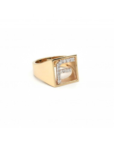 CAPECE GIOIELLIERI Ring DIT-MOI letter F in gold and brilliants