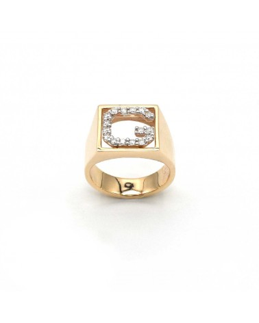 CAPECE GIOIELLIERI Ring DIT-MOI letter G in gold and brilliants