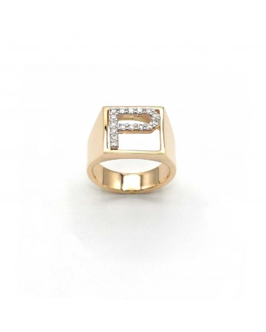 CAPECE GIOIELLIERI Ring DIT MOI letter P in gold and brilliants