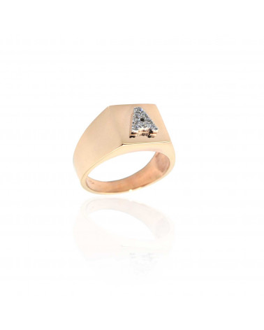 CAPECE GIOIELLIERI Square chevalier ring with letter A